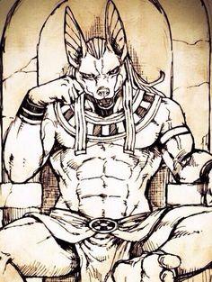 Egyptian Mythology, Egyptian Symbols, Tatoo Anubis, Egypt Art, Anthro Furry, Dark Fantasy Art, Gods And Goddesses, Furry Art, Werewolf