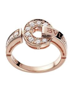 Diamond Rings : Bvlgari Bulgari Inspired 14ct Pink/Rose Gold And Diamond Ring