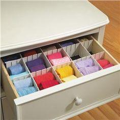 Keep your drawers organized - Drawer Organizer from Lillian Vernon    http://www.lillianvernon.com/Product/DrawerOrganizer#