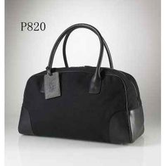 Ralph Lauren PU Tote Label Traveller Bag Black