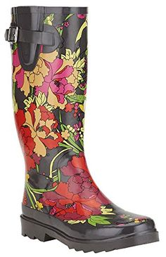 Sakroots Womens Rain Boots Jet Flower Power Size 7 -- To view further for this item, visit the image link.