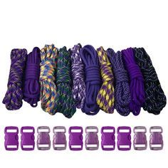 The Purple paracord kit comes with predetermined colors chosen by our color specialists. Each includes 10 10ft hanks and 10 paracord buckles. Perfect for paracord crafting projects.