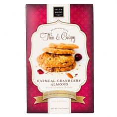 Delightfully Thin & Crispy Cookies in Oatmeal Cranberry Almond with Tupelo Honey! A delicious trilogy of sweet Tupelo Honey, tangy cranberries and almonds combine with whole oats for a new twist on a classic favorite.