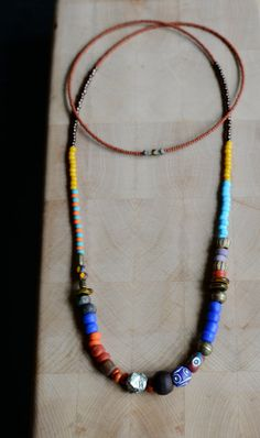 Tribal/ethnic long beaded necklace boho bead by copperandbeige