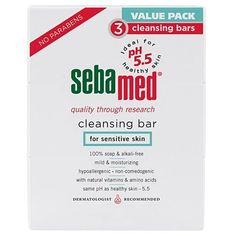 Sebamed Cleansing Bar 3 Pack by Sebamed. $8.99. Sebamed Cleansing Bar for Sensitive Skin 3 Pack. Dermatologist developed, the Sebamed Cleansing Bar is ultra-mild and compatible with the most sensitive of skins, gently cleansing deep into pores without causing dryness or irritation as regular soap can. With a moisturizing complex of vitamins, lecithin, and amino acids, it rinses away completely for naturally healthier, smoother skin.