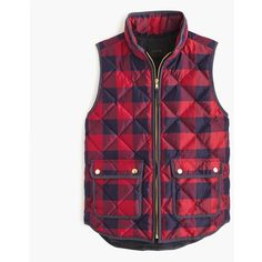 J.Crew Excursion Buffalo Check Vest ($185) ❤ liked on Polyvore featuring outerwear, vests, lightweight down vest, buffalo plaid vest, vest waistcoat, j.crew vest and pattern vest