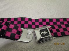 JEEP BELT HOT PINK BLACK CHECKERED BUCKLE-DOWN BELTS SEATBELT BELTS  #beltsdirect