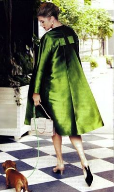 """Amazing green coat, love  I had a prom dress in this exact color and fabric.  Always loved this """"apple green""""!"""