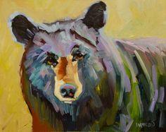 ARTOUTWEST BLACK BEAR OIL PAINTING DIANE WHITEHEAD FINE ART -- Diane Whitehead