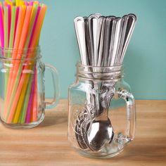 Libbey Mason Jar Drinking Glasses with Handles - 16 oz (97085) 12/CS
