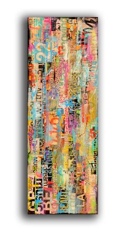Painting Metomix 12x36 Abstract text urban art on by erinashleyart