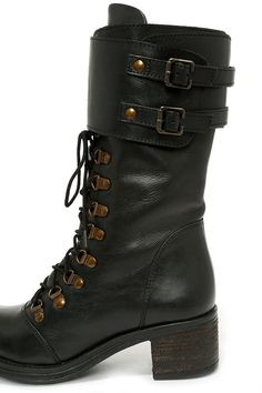 Black Leather Mid-Calf Combat Boots ~ NEED