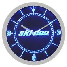 Ski-Doo Snowmobiles Neon Sign Bar Wall Clock