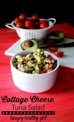 Cottage Cheese Tuna Salad- The world's tastiest (and healthiest) tuna salad! Made with cottage cheese for a protein-packed lunch. Healthy Tuna Salad, Healthy Salad Recipes, Whole Food Recipes, Dog Food Recipes, Cooking Recipes, Cottage Cheese Recipes, Good Food, Yummy Food, Pinterest Recipes