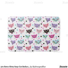 50s Retro Kitty Sexy Cat Bathroom Bathroom Mat