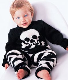 Pirates Cutie Jolly Roger Baby Set-download pattern from knit1's online store
