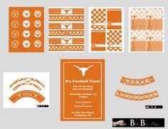 University of Texas Longhorns Party Pack- Printable Party Supplies - For graduation party!