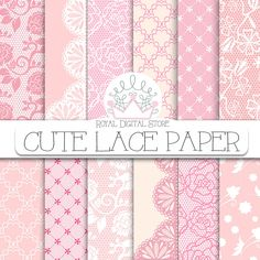 """Lace Digital Paper: """" Cute Lace Digital Paper"""" with lace background, lace texture, pink lace, beige lace, vintage lace pattern, brown lace #pink #lace #shabbychic #digitalpaper #scrapbookpaper #planner #wedding #partysupplies"""