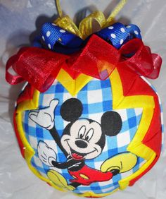 MICKEY MOUSE 4 inch Quilted Christmas Ornament by ncgalcreations, $18.00