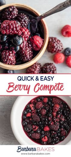 This Quick Triple Berry Compote is so quick and easy to make youll want to make it often. Its a perfect addition to your favorite breakfast or dessert. Raspberry Compote Recipe Easy, Fresh Berry Compote Recipe, Berry Coulis, Berry Sauce, Fruit Compote, British Baking, Healthy Treats, Healthy Desserts, Healthy Food
