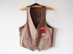 Brown Plaid Mens Vest Wool Blend Waistcoat Red Embroidery Too Cute Peanuts Characters Waistcoat Made in USA Medium