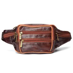 Men Genuine Leather Crossbody Bag Leisure Outdoor Building Travel Hiking Waist Bag
