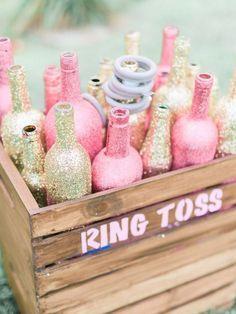 gold pink glitter rustic diy wedding game items / http://www.deerpearlflowers.com/perfect-rustic-wedding-ideas/2/