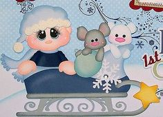 ELITE4U PMBY JULIE Christmas baby premade scrapbook page 4 album paper piecing
