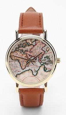 Around the World Leather Watch $34