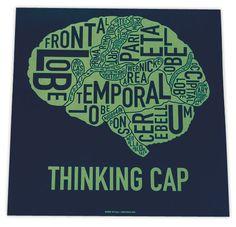 brain diagram screen print poster art neurology map