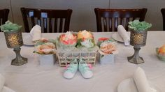 Peach and Mint gender neutral baby shower center pieces and decorations
