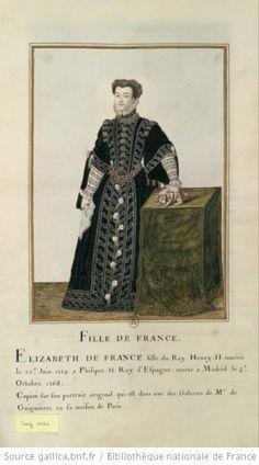 [Portrait de princesse en pied. Elle porte une robe très riche, et tient un petit chien sur une table] : [dessin] - Elisabeth de Valois queen of Spain PROVENANCE Gaignieres Collection BNF