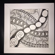 """Framed 4""""x4"""" on canvas, done for my dad just because #dubbybydesign #zentangle"""