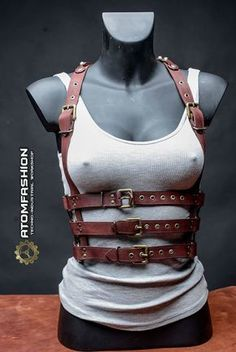 Steampunk woman leather harness от Atomfashion на Etsy