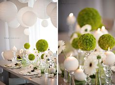 Modern Circle-Inspired Green and White Wedding Inspiration Green Wedding, Floral Wedding, Wedding Colors, Wedding Styles, Wedding Flowers, Wedding White, Deco Floral, Arte Floral, Table Arrangements