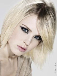 Short style. Cool blonde color.