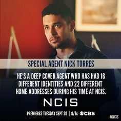 "3,305 Likes, 43 Comments - NCIS (@ncis.cbs) on Instagram: ""Get to know #NCIS Special Agent Nick Torres. @ncisnicktorres"""