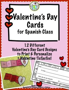 Printable Valentine's Day Cards for Spanish Class- 12 different designs to print and personalize, great for multiple grade levels + Valentine TicTacToe game! Mundo de Pepita, Resources for Teaching Spanish to Children