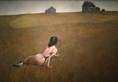 """""""CHRISTINA'S WORLD"""" Museum of Modern Art, NY (1948) by Andrew Wyeth.  The woman in the painting is Christina Olson (May 3, 1893 - January 27, 1968). She suffered from Polio, a muscular deterioration that paralyzed her lower body. Wyeth was inspired to create the painting when through a window from within the house he saw her crawling across a field."""