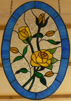 Yellow Roses - Wrenovations Custom Stained Glass Creations Panels - Custom designs
