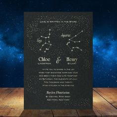 Are you looking for a unique and original wedding invitation, but you also happen to love astrology? Then we have the perfect invitation for you!  You will absolutely love our Astrological Pair Invitation. Your astrology signs will shine in foil against a shimmering background. This invitation i