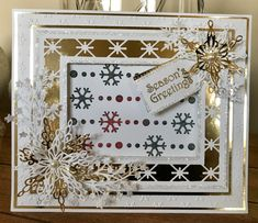 8x8 Snowflake Trails Stencil Snowflake Cards, Snowflakes, Sue Wilson, White Christmas, Stampin Up, Stencils, Christmas Cards, Crafting, Seasons