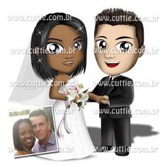 Caricatura para casamento - Noivos Pollyana e Guilherme - noivinhos cuttie