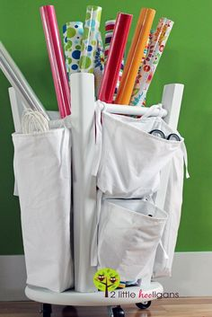 Creative Storage Hacks For an Organized Home --> DIY Wrapping Paper Organizer from an Old Kitchen Stool Turned Upside Down Diy Wrapping Paper Station, Diy Wrapping Paper Organizer, Gift Wrapping Supplies, Wrapping Presents, Wrapping Papers, Wrapping Ideas, Diy Organizer, Gift Wrap Organizer, Organizing Hacks