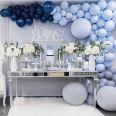 It's a BOY! #babyboy #babyshower #balloonarch #balloongarland #desserttable #flowers #blue #mommytobe #decore #events