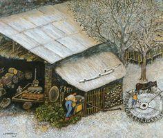 le broyage de l'ajonc.de Lucien Pouëdras Lucien, Firewood, Folk, Illustrations, Texture, House Styles, Crafts, Home Decor, Art