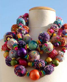 Felt bead necklace