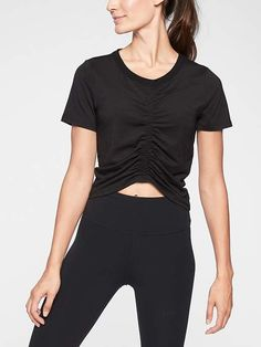 Athleta Women's Encore Cinch Front Tee Black Regular Size L Gym Tops, Fitness Studio, Black Tops, Active Wear, Black Jeans, Turtle Neck, Stylish, Tees, Shopping