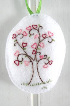 Heart Tree Embroidered Felt Ornament
