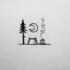 Camping under a big bright moon (would be a cute tattoo) …
